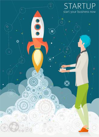 Concept van de inbedrijfstelling met raket. Begin bedrijf nu