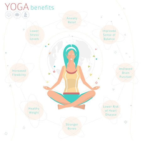 Concept of healthy lifestyle  benefits of yoga  young woman practices yoga  yoga meditation  Sukhasana  Easy pose  vector illustration  flat style Çizim