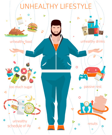 sedentary: Concept of unhealthy lifestyle  fat man with his bad habits  vector illustration  flat style
