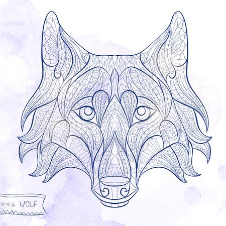 wilkołak: Wzorzyste głowa wilka na tle grunge. Afrykański  indian design  Totem  tatuaż. Może być stosowany do projektowania t-shirt, torba, pocztówka, plakat i tak dalej.