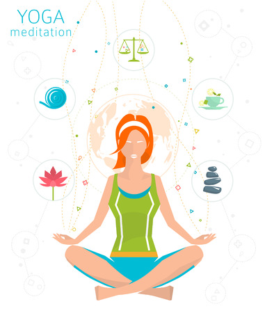 practices: Concept of healthy lifestyle  young woman practices yoga  yoga meditation  Sukhasana  Easy pose  vector illustration  flat style