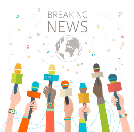 interview: Concept of breaking news  hot news   multicultural hands and microphone  vector illustration