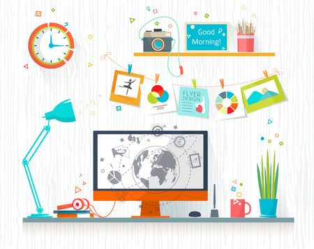 mapa de procesos: Lugar de trabajo del diseñador-ilustrador. Espacio de trabajo de la oficina creativa. Art-trabajando proceso. Diseño plano ilustración vectorial