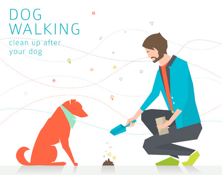 Concept of cleaning up after dog  vector illustration