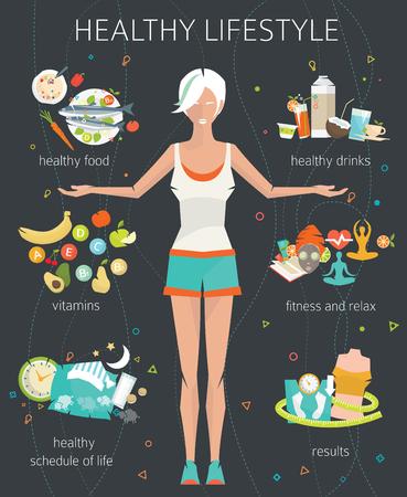 salud: Concepto de estilo de vida saludable  mujer joven con su buenos hábitos  gimnasio, comida sana, métricas  ilustración del vector  estilo plano