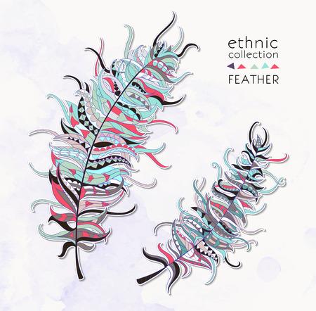 totem indien: Set de plumes à motifs ethniques sur le fond de la grange conception  totem  tatouage  africain  indien. Utilisez pour l'impression, affiches, t-shirts. Illustration