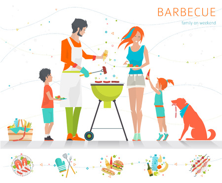 grilled salmon: Family on weekend. Barbecue party. Summer outdoor activity. Vector flat illustration. Illustration
