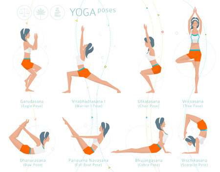 Concept of healthy lifestyle / young woman practices yoga / yoga meditation / set of poses / vector illustration / flat style