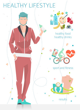 fit body: Concept of healthy lifestyle  young man with his good habits  fitness, healthy food, metrics  vector illustration  flat style