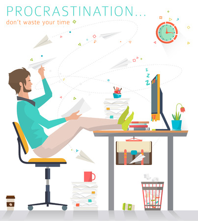 men at work sign: Concept of procrastination. Worker shelves his business. Flat vector illustration.