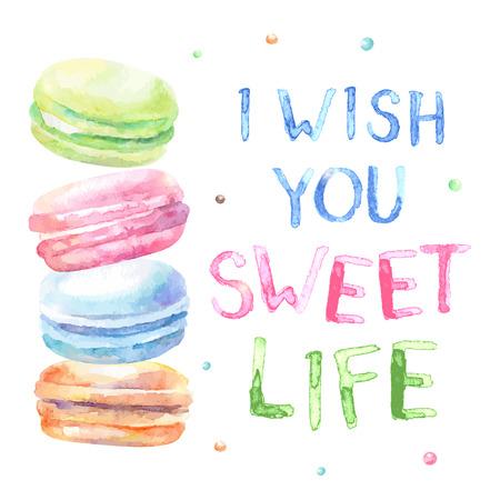 타이포그래피와 달콤한 맛 수채화있는 macarons. 카드를 바랍니다. 나는 당신에게 달콤한 생활을 기원합니다. 각 요소는 분리된다.