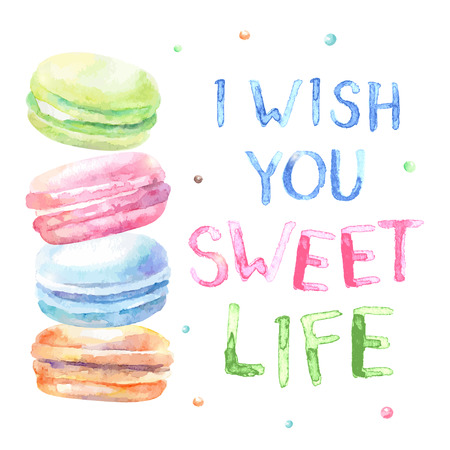 Sweet delicious watercolor macarons with typography. Wish card. I wish you sweet life. Each elements are separated.