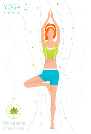 practices: Concept of healthy lifestyle  young woman practices yoga  yoga meditation  Vriksasana  Tree pose  vector illustration  flat style