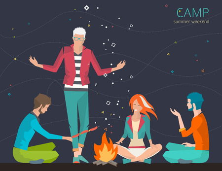 adventure story: Group of young people are sitting around campfire and telling stories. Summer night. Weekend and recreation. Flat vector illustration.