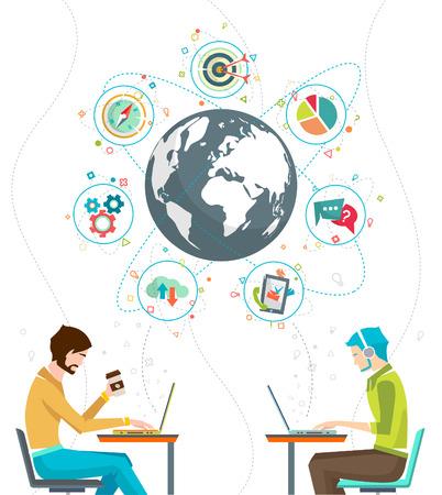 trabajo social: Concepto del asunto global. La comunicación en las redes mundiales. Multitarea en el negocio. Administración de larga distancia y la gestión. Concepto de la red de medios de comunicación social. Ilustración del vector.