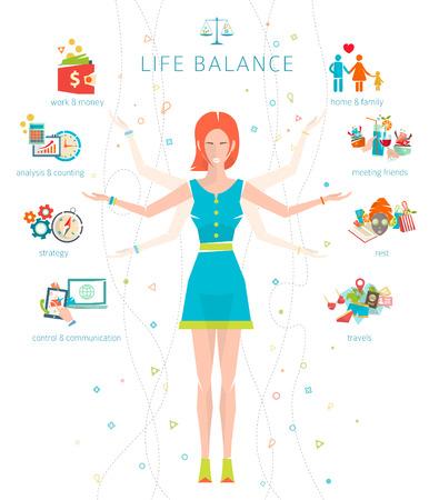 중요한 생활 분야  벡터 일러스트 레이 션과 인간 에너지의 일과 생활의 균형  분할의 개념입니다.