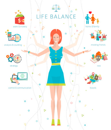balance life: Concept of work and life balance  dividing of human energy between important life spheres  Vector illustration.
