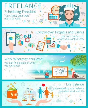 프리랜서가되는 장점의 개념입니다. 평면 디자인 스타일. 자유 예약. 프로젝트 및 클라이언트 제어. 생활의 균형. 여행하면서 작업 할 수 있습니다.