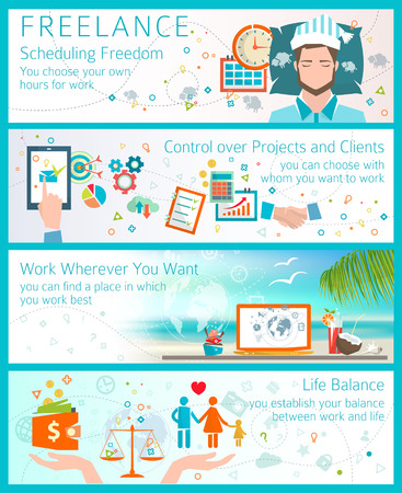 Concept of advantages of becoming a freelancer.  Flat design style. Scheduling freedom. Control over projects and clients. Life balance. Work while travel.
