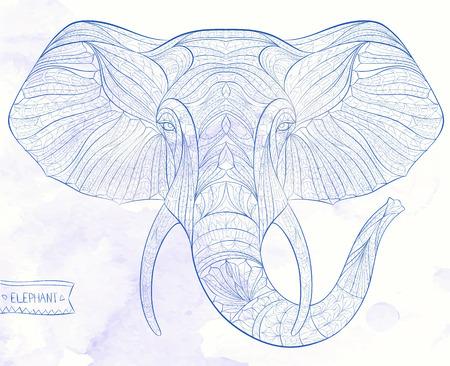 totem indiano: Etnica testa fantasia di elefante sullo sfondo grange  disegno  totem  tatuaggio africano  indiano. Utilizzare per la stampa, poster, t-shirt.