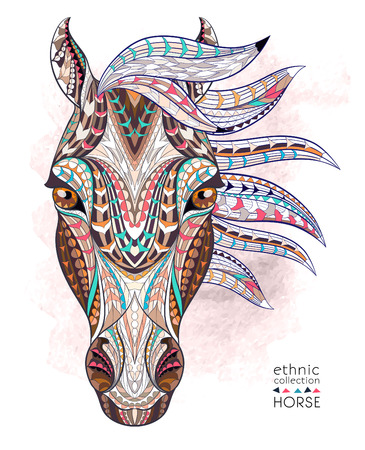 head for: Patterned head of the horse on the grunge background. African  indian  totem  tattoo design. It may be used for design of a t-shirt, bag, postcard, a poster and so on.