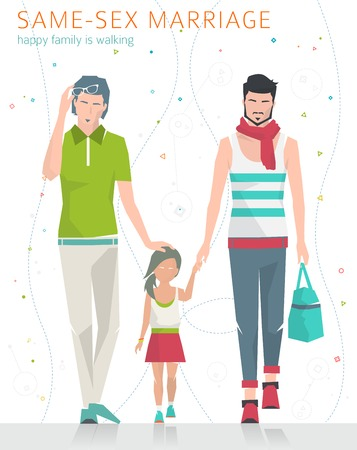 homosexual sex: Concept of same-sex marriage. Happy family is going for a walk. Two fathers and daughter. Flat vector illustration.