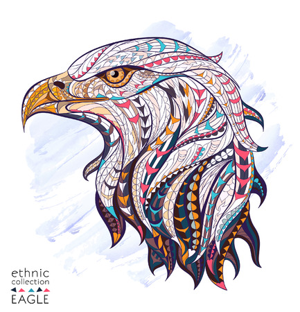 animals in the wild: Patterned head of eagle on the watercolor background. African  indian  totem  tattoo design. It may be used for design of a t-shirt, bag, postcard, a poster and so on.