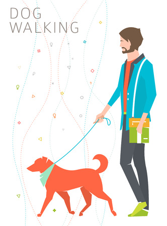 Concept of dog walking  young man with his dog   vector illustration Illustration