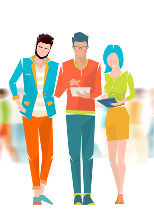 Concept of meeting and discussion between young people on the blurred background. Vector flat illustration.