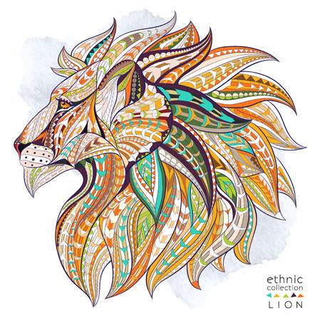 그런 지 배경에 사자 무늬 머리. 아프리카  인도  토템  문신 디자인. 그것은 등등 티셔츠, 가방, 엽서, 포스터의 디자인에 사용될 수있다.