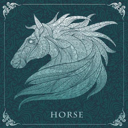 cabeza caballo: Cabeza del caballo con dibujos en el fondo floral. Dise�o  totem  tatuaje de �frica  India. Puede ser utilizado para el dise�o de una camiseta, bolso, tarjeta postal, un cartel y as� sucesivamente.