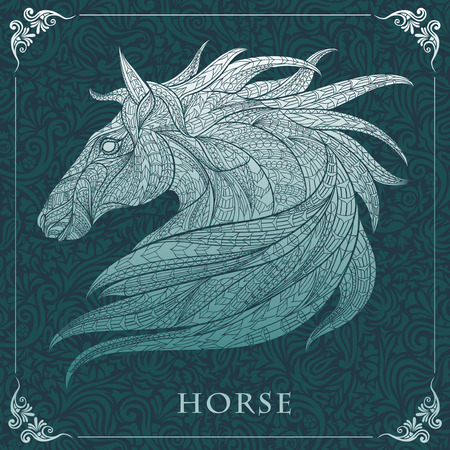 equine: Patterned head of the horse  on the floral background. African  indian  totem  tattoo design. It may be used for design of a t-shirt, bag, postcard, a poster and so on.