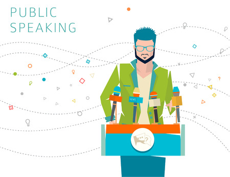 lecture hall: Concept of public speaking  speakers stand  press conference  vector illustration. Illustration