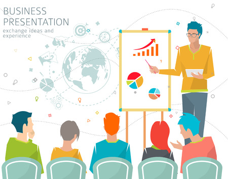 colaboracion: Concepto de presentaci�n para reuniones  conferencias  intercambiar ideas y experiencias  colaboraci�n y discusi�n ilustraci�n  vector