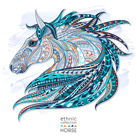 wild nature: Patterned head of the horse on the grunge background. African  indian  totem  tattoo design. It may be used for design of a t-shirt, bag, postcard, a poster and so on.