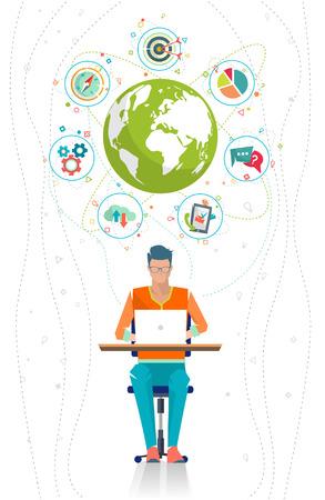 administracion de empresas: Concepto del asunto global. La comunicación en las redes mundiales. Multitarea en el negocio. Administración de larga distancia y la gestión. Concepto de la red de medios de comunicación social. Ilustración del vector.
