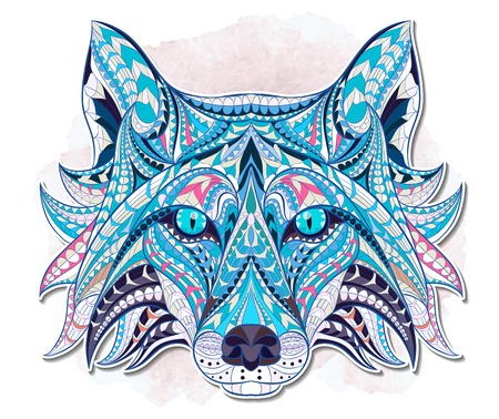 Patterned head of the fox on the grunge background. African / indian / totem / tattoo design. It may be used for design of a t-shirt, bag, postcard, a poster and so on.
