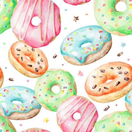 Sweet delicious watercolor pattern with donuts. Hand-drawn background. Vector illustration.