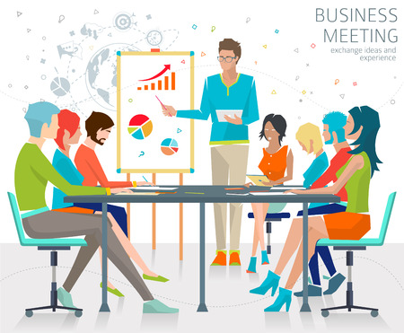 Concept of business meeting / exchange ideas and experience / coworking people / collaboration and discussion / vector illustration Çizim