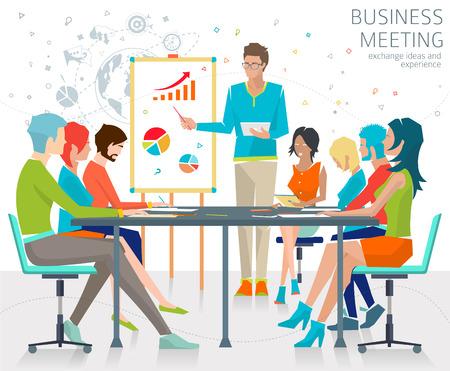 grupo: Concepto de negocio de reuniones  intercambiar ideas y experiencias  personas coworking  colaboración y discusión  ilustración vectorial