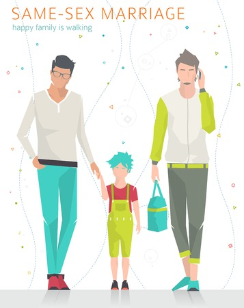 adults sex: Concept of same-sex marriage. Happy family is going for a walk. Two fathers and son. Flat vector illustration.