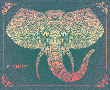 tattoo: Ethnic patterned head of elephant on the grange background african  indian  totem  tattoo design. Use for print, posters, t-shirts.