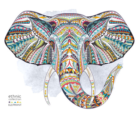 animal icon: Ethnic patterned head of elephant on the grange background african  indian  totem  tattoo design. Use for print, posters, t-shirts.