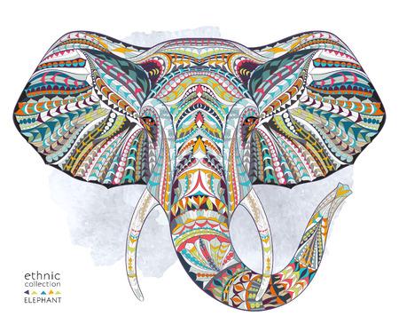 animal: 大象的民族圖案的頭田莊背景非洲印度圖騰紋身設計。用於打印,海報,T恤衫。 向量圖像