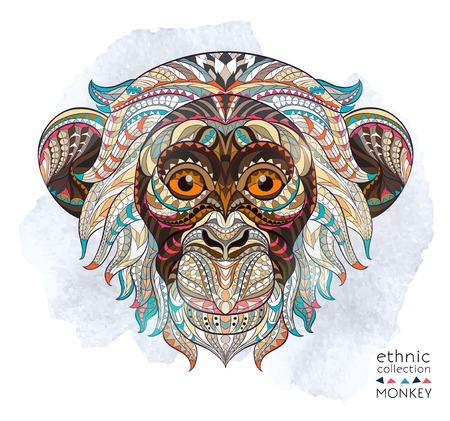 животные: Узорчатое глава обезьяны на фоне гранж. Африканский  индийский дизайн  тотем  татуировка. Он может быть использован для проектирования футболку, сумку, открытки, плакат и так далее.