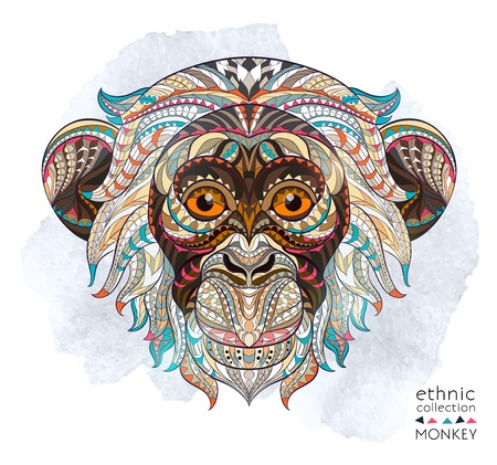 be: Patterned head of the monkey on the grunge background. African  indian  totem  tattoo design. It may be used for design of a t-shirt, bag, postcard, a poster and so on.