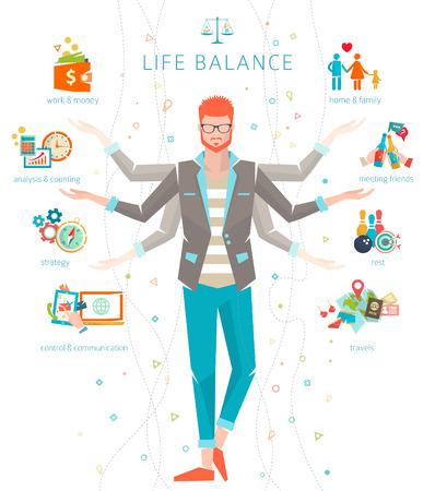 Concept de travail et l'équilibre vie / séparation de l'énergie humaine importante entre la vie sphères / Vector illustration. Banque d'images - 44184000