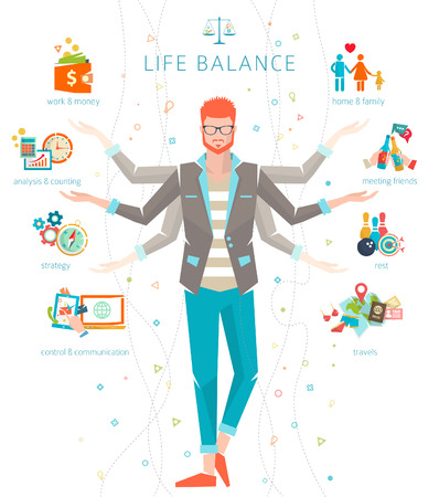 balanza: Concepto de trabajo y conciliaci�n de la vida  de divisi�n de la energ�a humana entre importantes esferas  Vector ilustraci�n vida. Vectores