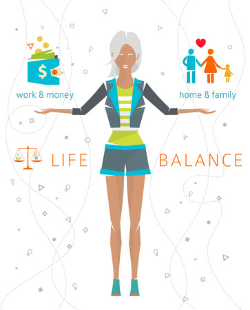 Concept of work and life balance  dividing of human energy between important life spheres  Vector illustration.