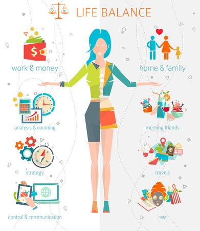 Konzept von Arbeit und Privatleben / Trennungs menschlicher Energie zwischen wichtigen Lebensbereiche / Vektor-Illustration. Standard-Bild - 44184321